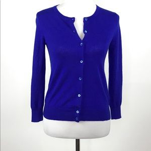 J. Crew Cashmere Cardigan Sweater Sz S Royal Blue